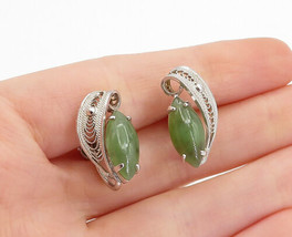SORRENTO 925 Silver - Vintage Jade Filigree Non Pierce Screw Earrings - ... - $30.89