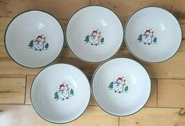 "5 Pfaltzgraff Snow Village 6.25"" Cereal Bowls Snowman Santa House Barn Angel USA - $1,919.05"