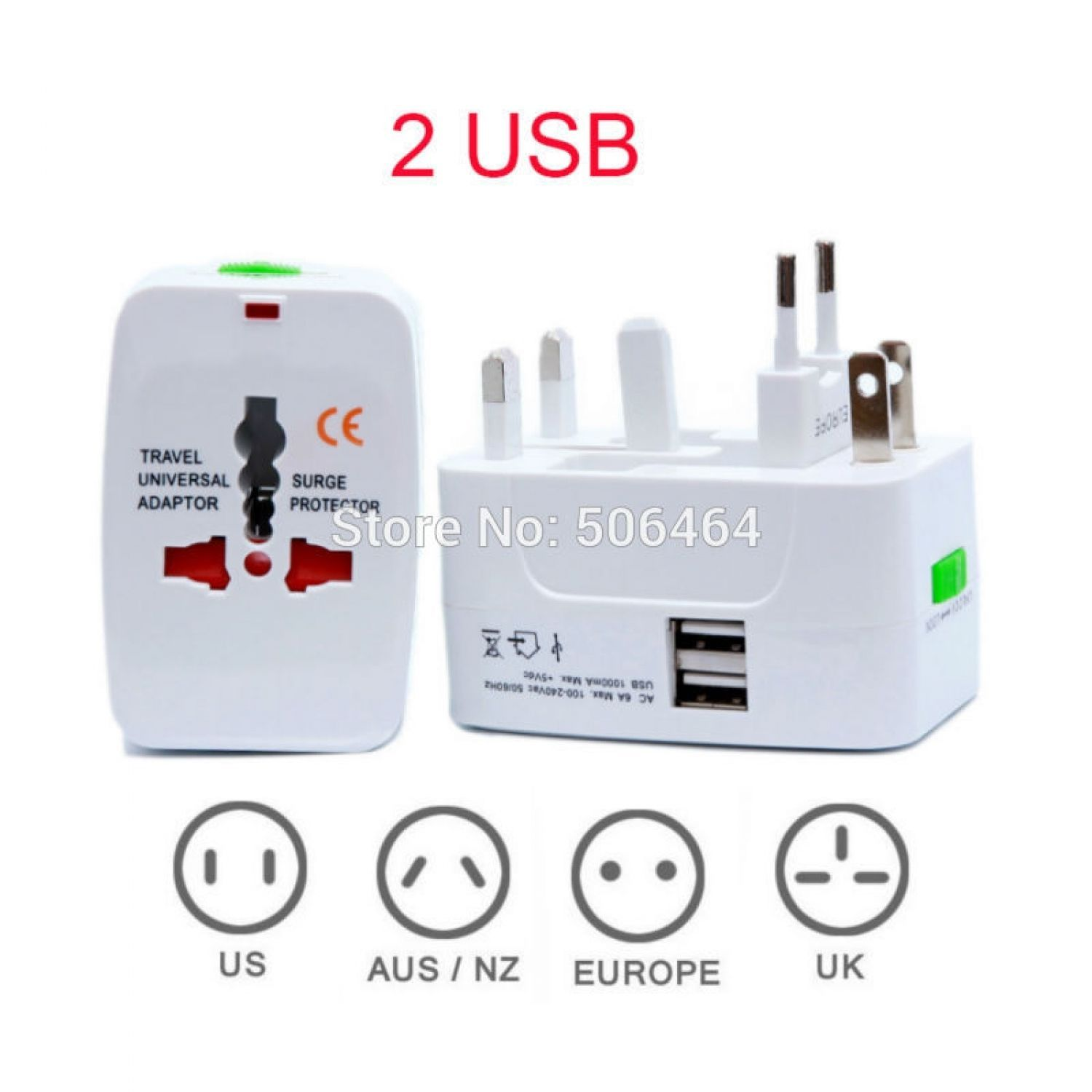 2 USB Port All in One Universal International Plug Adapter World Travel AC Power