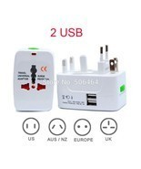 2 USB Port All in One Universal International Plug Adapter World Travel ... - $17.15 CAD