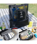 Handheld Insulated Cooler Picnic Mesh Food Drink Lunch Beach Bag  - $29.99