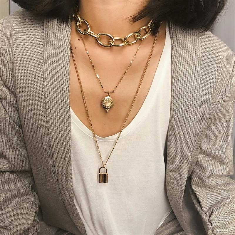 choker necklace lock pendants girls ladies layered chain necklace fashion all match jewelry for