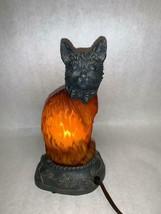 Vintage Cat Nightlight Nursury Lamp Small Desk Lamp Glass Metal - $39.59