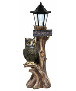 Haunted Forest Guardian Night Owl Welcome Sign Statue With Solar Powered... - $54.99
