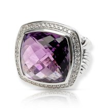 David Yurman Albion Amethyst & Diamond Ring in Sterling Silver - $860.00