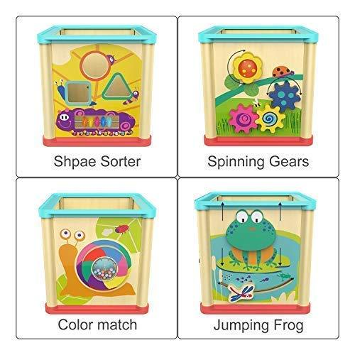 TOP BRIGHT Activity Cube Wooden Toys for 1 Year Old Girl ...