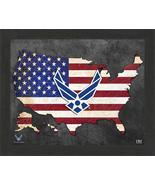 """United States Air Force Patriotic Flag Map 9"""" x 11"""" Framed Photo - $29.99"""