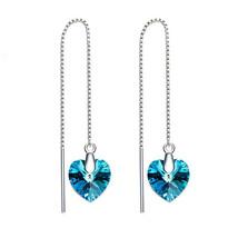BERMUNDA BLUE 10MM CRYSTAL HEART DROP EARRINGS-SIZE SMALL - $9.79