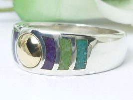 Stoneform Sterling/14K Multi-gemstone Opaque Ring Size 7 - $54.00