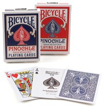 1 Deck Bicycle Rider Back Standard Pinochle Playing Cards Red or  Blue N... - $2.59