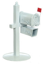 Dollhouse Miniature - Outdoor Rural Metal Mailbox Stand with Paperbox - $25.75