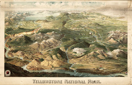 1904 Karte Yellowstone National Park aerial Blick Wandkunst Plakat Dekor - $12.79+