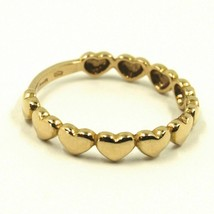 Yellow Gold Ring Or White Or Pink 750 18K, Row Of Hearts Domed image 2