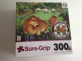 "Sure-Grip 300 Piece Art Puzzle ""Contentment""Cows Country Farm Large Thic... - $9.70"