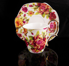 Vintage Rose demitasse - Unusual saucer - Lily creek cup & saucer - handpainted  - $38.00