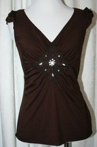 soulmates Rich Brown Top Fitted, with Jewel Embellishments and Crochet, ... - $8.90