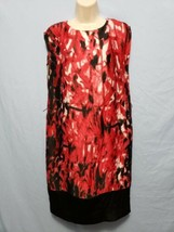 Anne Klein Dress 6P Red Black Geo print lined Sleeveless black hem no belt - $19.51