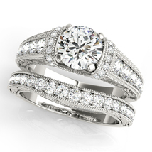 14k White Gold Plated 925 Silver Round Cut CZ Women's Bridal Engagement Ring Set - $94.99