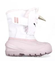 Cat & Jack Huxley Unicorn Toddler Girls ThermoLite Pink & White Snow Boots NEW image 3