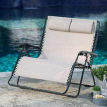 Zero Gravity Loveseat Padded Chair 2 Person Lounge Outdoor Patio Lawn Fu... - $139.99