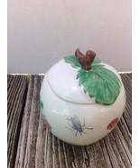Ceramic Apple Jelly Jar Hand Painted Signed MC - $18.81