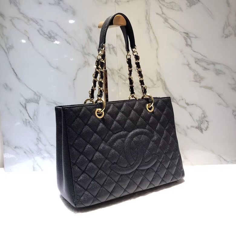 7716dc0c91a7 BRAND NEW AUTH CHANEL QUILTED CAVIAR GST GRAND SHOPPING TOTE BAG GHW RECEIPT