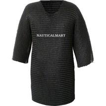 Larp Chainmail Shirt / Hauberk /Haubergeon Black Medieval Costume - $299.00
