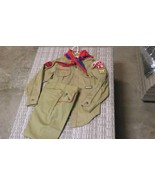 1960'S / 1970'S VINTAGE BOY SCOUT SHIRT WITH BADGES, PANTS, AND BANDANNA - $45.00