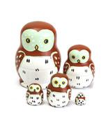 5PCS Wooden Madness Russian Babushka Matryoshka Owl Pattern Doll Nesting... - $15.83