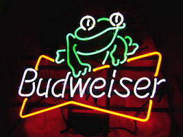 "New Budweiser Frog Bud Light Beer Real Glass Neon Sign 24""x20"" - $208.00"