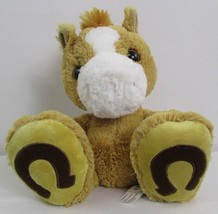 "2014 Aurora Plush Beanie 12"" Shaggy Brown Lucky Horseshoe Baby Horse Pon... - $5.53"