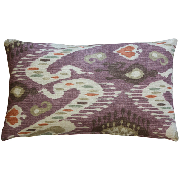 Pillow Decor - Solo Mulberry Ikat Throw Pillow 12x20