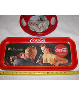 Lot of 2 Coca Cola Trays, Welcome & The Drink Of All The Year Free Shipp... - $24.98