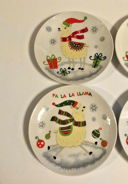 "Llama's Llama Christmas Ceramic Tidbit Appetizer Plates 2 Designs 6"" Set of 4"