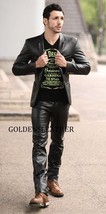 CASUAL MEN LEATHER PANT GENUINE REAL LEATHER TROUSER MEN BIKER LEATHER P... - $159.00