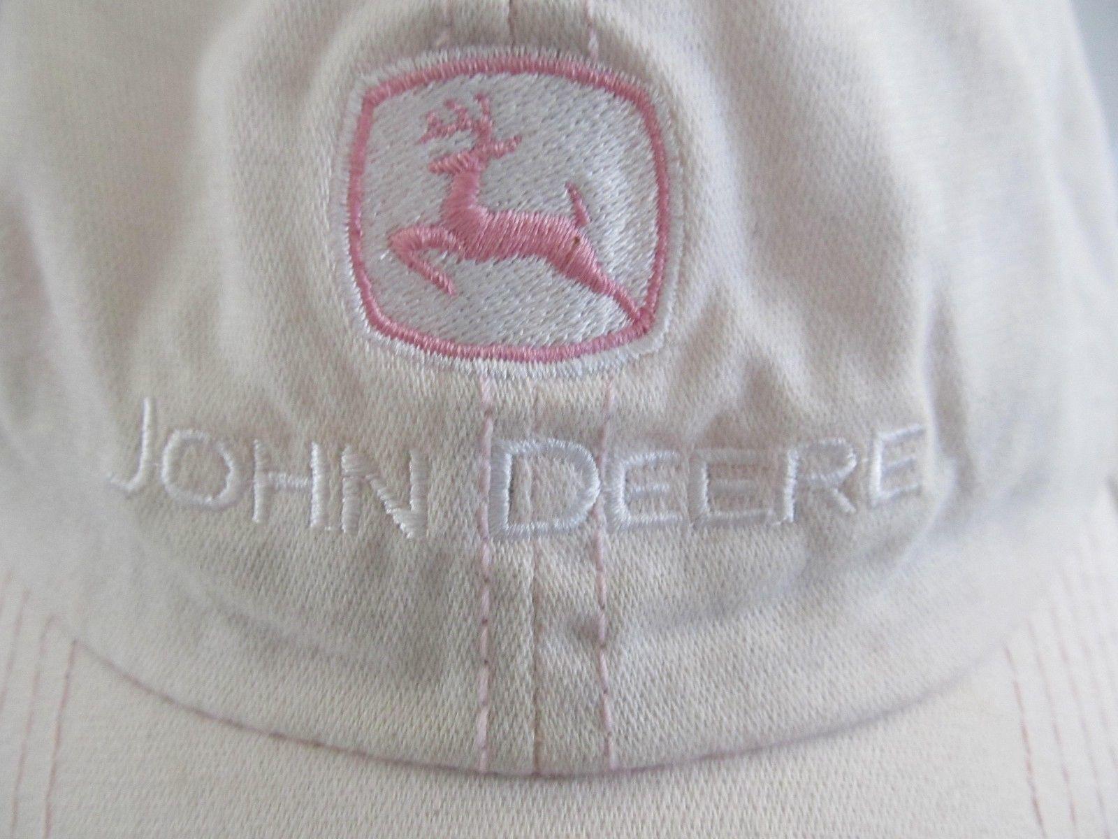John Deere Pink w/ Black Underbill Embroidered Logo Adj Distressed Ball Cap Hat