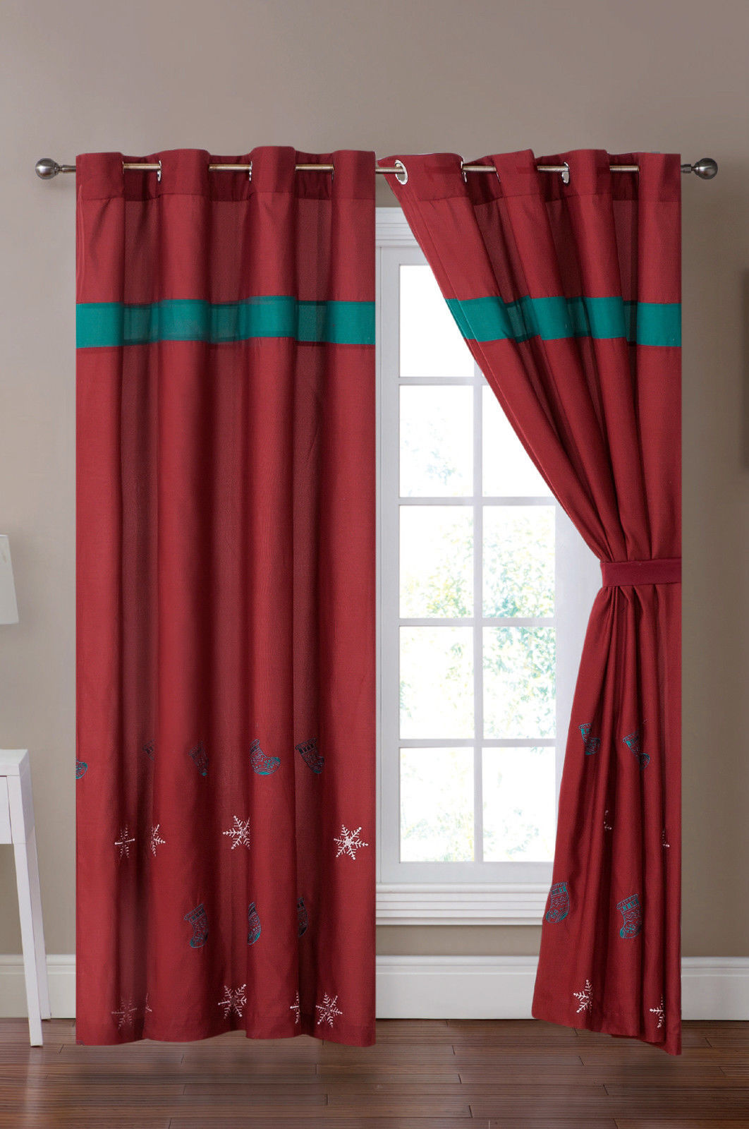 Primary image for 4-P Xmas Stocking Snowflake Embroidery Curtain Set Burgundy Red Teal Green Sheer