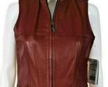 New Siena Studio Womens Vest Burgundy maroon zip up Leather biker moto Size 6