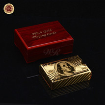 Deck of 24k Gold Foil Plated Poker Plastic Playing Cards US $100 Back /w... - $8.36