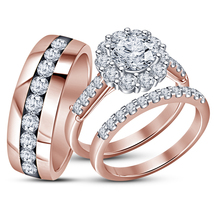 Round Diamond His And Her Trio Engagement Ring Set 14K Rose Gold Over 92... - $162.99
