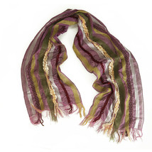 Multicolor Purple Stripes Ruched Long Scarf Wrap Cache Col - $31.68