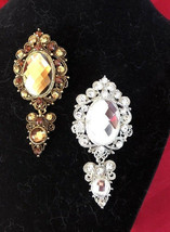 Estate Brooches Rhinestone Gold Tone and Silver Tone Jewelry Lot of 2 - $15.61