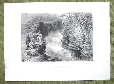 CANADA Falls on Montmorenci River - 1841 Engraving Print by BARTLETT