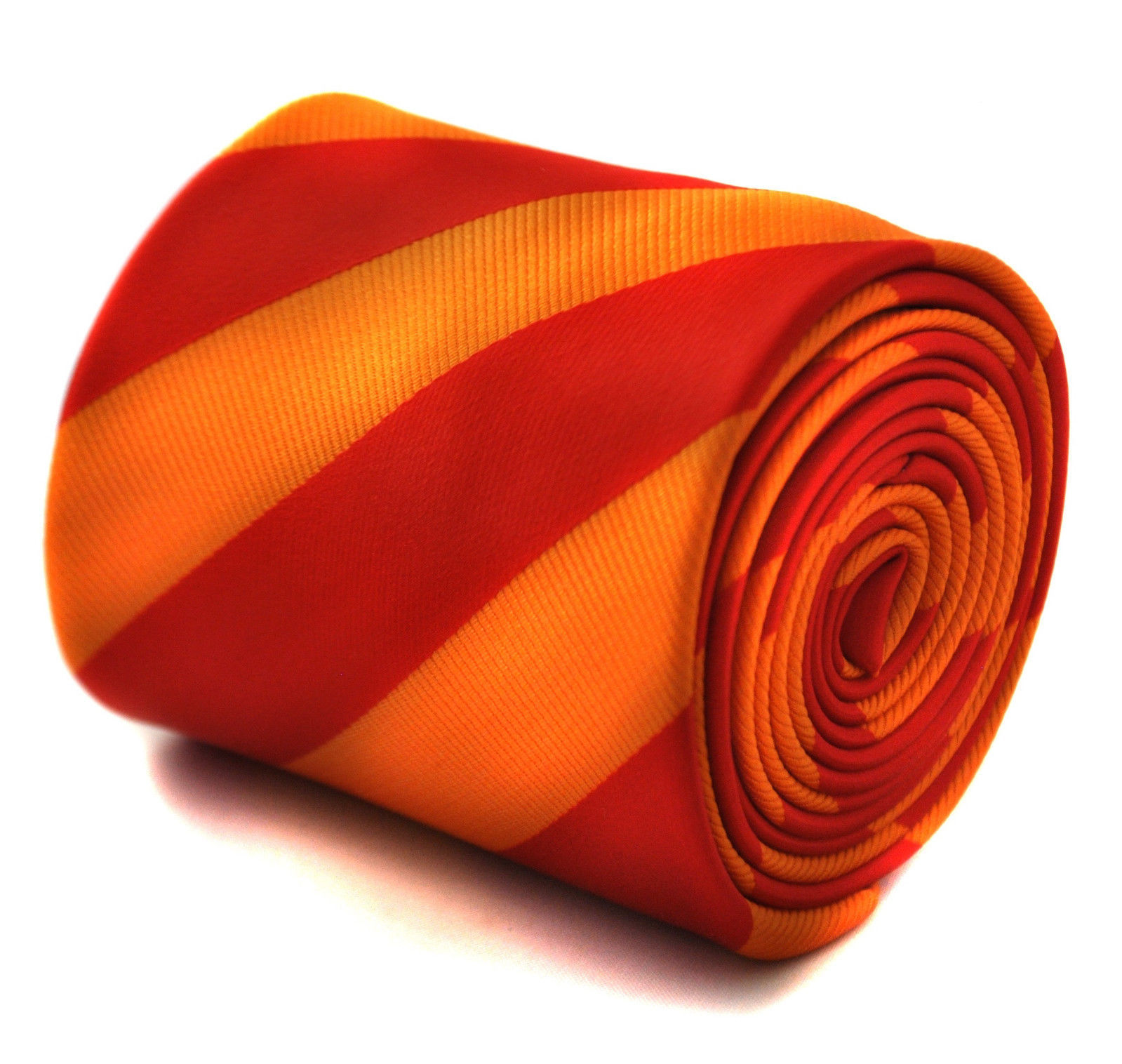 Frederick Thomas red and orange barber striped tie FT1759