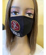 NFL San Francisco 49ers Bling Rhinestone Face Mask Re-usable With Filter - £13.27 GBP