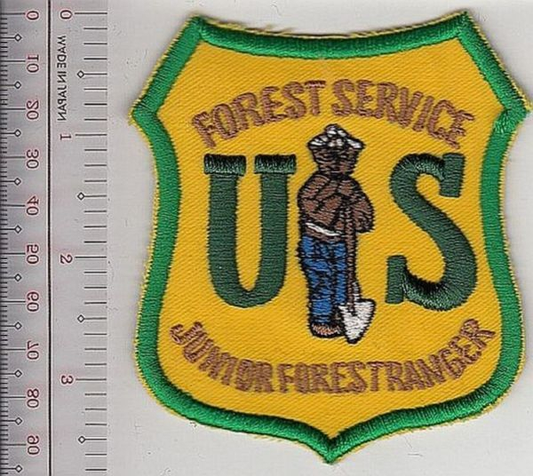Mokey the bear usfs junior forest ranger patch us forest service usfs green on yellow patch 9.99