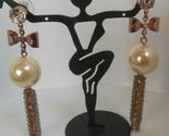 Faux Pearl & Clear Rhinestone Chain Dangle Pierced Bow Earrings
