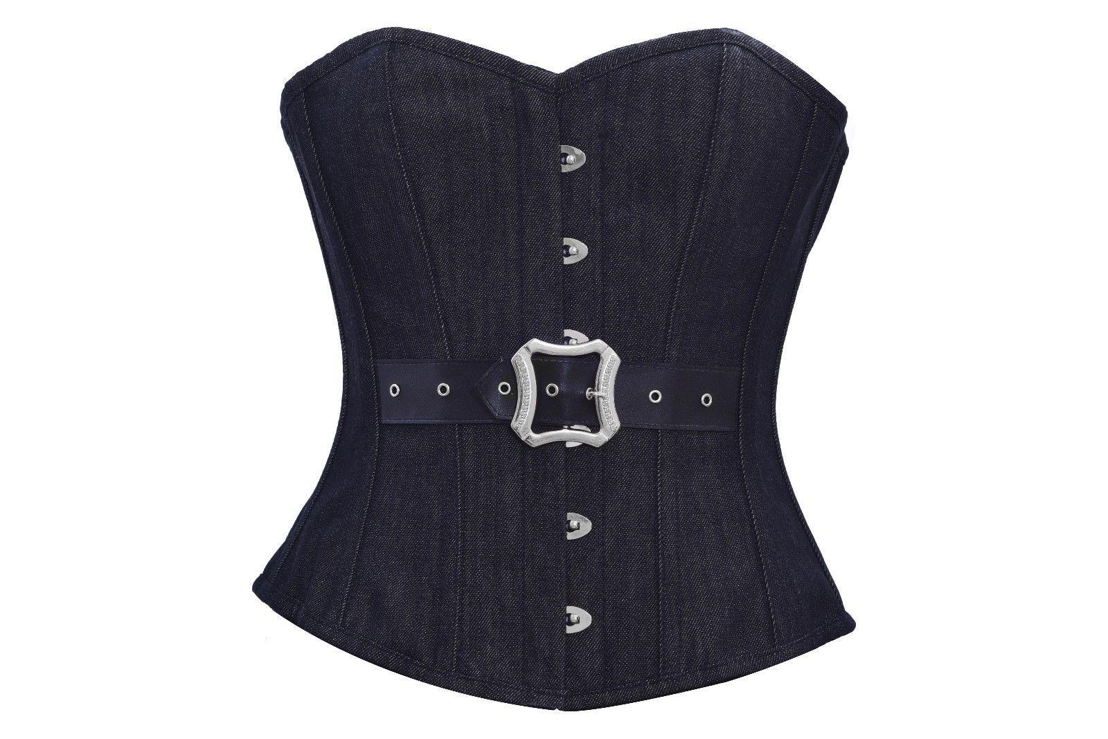 Black Denim Leather Belt Gothic Steampunk Bustier Waist Training Overbust Corset