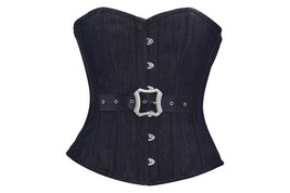 Black Denim Leather Belt Gothic Steampunk Bustier Waist Training Overbus... - $47.21