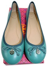 Tory Burch Chelsea Ballerina Flat Green Leather Ballet Shoe Logo Charm 9... - $126.00